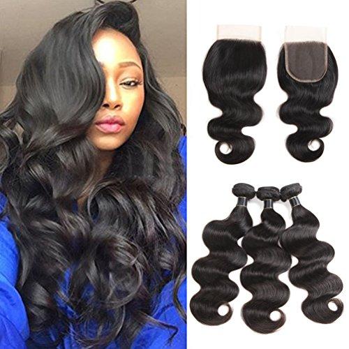 8A Brazilian Body Wave Bundles with Closure 100% Unprocessed Virgin Hair Human Hair Bundles with Closure Free Part Natural Color …