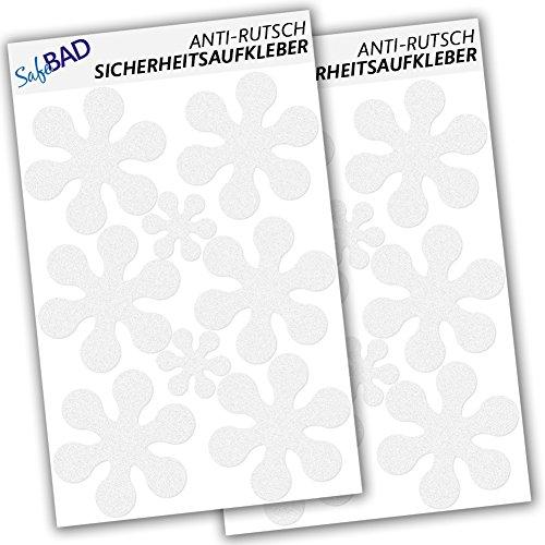 SafeBAD SB16B Anti-Rutsch-Sticker 12 Blumen 10 cm und 4 Blümchen 5 cm Durchmesser für Sicherheit in Badewanne und Dusche