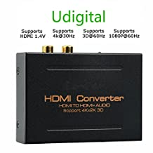HDMI Audio Extractor,Udigital HDMI to HDMI + Optical Toslink(SPDIF) + RCA(L/R) Stereo Analog Outputs Video Audio Support 3D for PS4 Xbox One DVD Blu-ray Player HD TV Projector