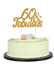 LXZS-BH Gold Glitter Fabulous Cake Topper,Wedding,Birthday,Anniversary, Party Decorations (60th)