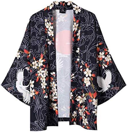 サマーカーディガン 和式パーカー メンズ 開襟 男女兼用 和風 羽織 開襟シャツ 鶴柄プリント 七分袖