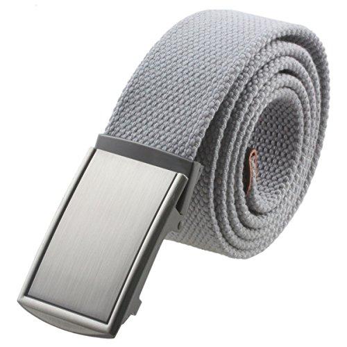Grey Belt Buckle (Moonsix Canvas Web Belts for Men,Solid Color Casual Military Style Belt)