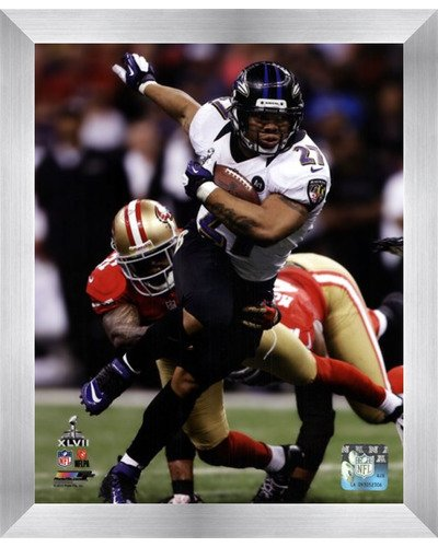 (Poster Palooza Framed Ray Rice Super Bowl XLVII Action- 8x10 Inches - Art Print (Stainless Steel Frame))