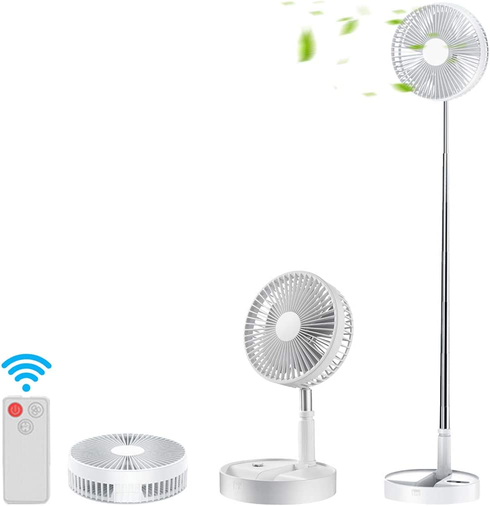 Formemory Folding Stand Fan, Portable Fan Telescopic Fan USB Rechargeable Table Floor With 4 Speeds Quiet Remote Control for Office Home Outdoor Camping (White)