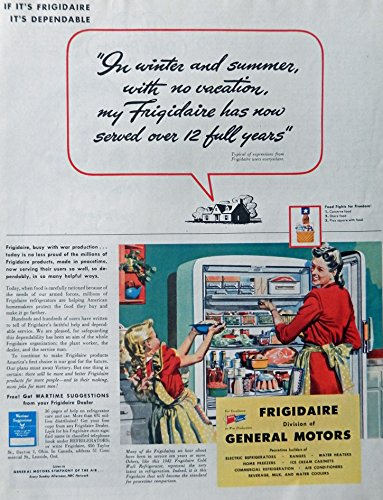 - Frigidaire, General Motors, 40's Print Ad. full Page Color Illustration (mother and daughter) Original Vintage, Rare 1944 Collier's Magazine Art