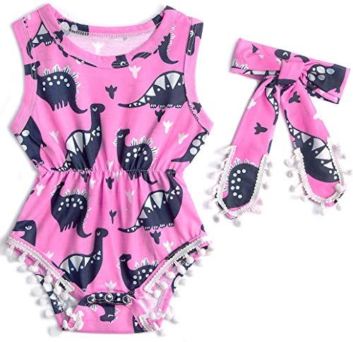 - Leapparel Toddler Lovely Animal Dinosaur Print Jumpsuit Short Sleeve Romper Baby Girl Birthday Outfit Little Kids Clothes with Personal Headbrand 6-12 Months