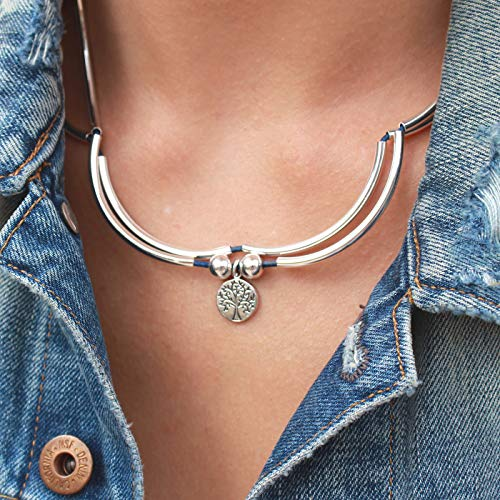 Lizzy James Girlfriend Silver Bracelet Necklace with Silver Tree of Life Charm in True Blue Leather (XLarge) by Lizzy James (Image #2)