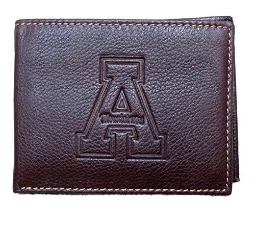 College Bi Wallet State Fold (Carolina Sewn Collegiate Appalachian State University ASU Leather Men's Bifold Wallet)