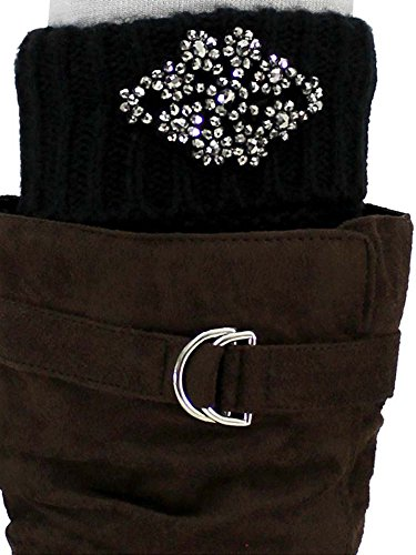 Black Knit Silver Beaded Boot Cuff Leg (Beaded Thigh High Stockings)