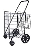 DLUX Foldable Shopping Cart Model D862S, Durable Rubberized Swivel Wheels & Extra Basket, Jumbo Size Utility Cart