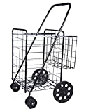 Foldable Shopping Cart Durable Rubberized Swivel Wheels & Extra Basket, Jumbo Size Utility Cart