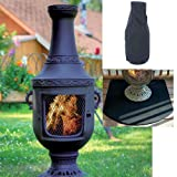 Blue Rooster Venetian Style Wood Burning Outdoor Metal Chiminea Fireplace Charcoal Color with Cover and Half Round Fire Resistent Chiminea Pad