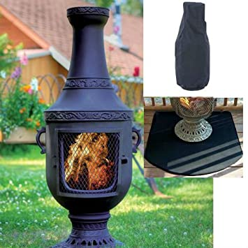 Blue Rooster Venetian Style Wood Burning Outdoor Metal Chiminea Fireplace  Charcoal Color With Cover And Half