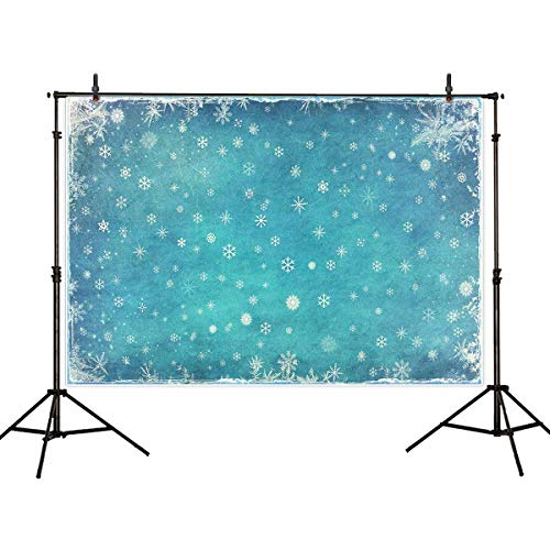 Allenjoy 7x5ft Ice Blue Winter Backdrop Photography Studio Birthday Party Decor Banner Festival White Snowflake Snowfall Christmas Background Baby Shower Kids -