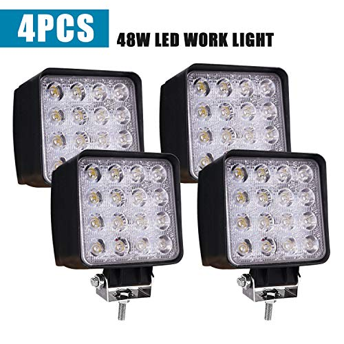 Led Light Bar TURBOSII Led Pod Light 4 inch 48W Square Spot Work Light Offroad Light Led Fog Light Driving Light Boat Lighting Truck Light For Tractor Jeep ATV 4X4 12V 24V, 4PCS