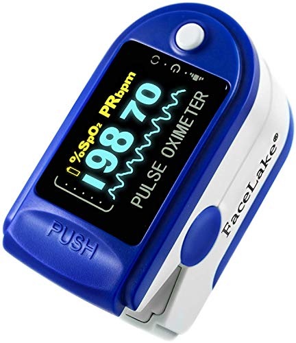 FaceLake Blue Pulse Oximeter with Carrying Case, Lanyard Batteries