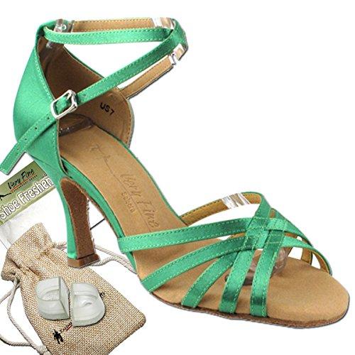 Scarpe Donna Ballo Tango Scarpe Salsa Di Nozze Sera2613eb Confortevole-molto Fine 3 [fascio Di 5] Raso Verde