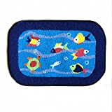Blue Fish Rug Handmade Bath Mat Animal Rugs for Kids Washable Doormats