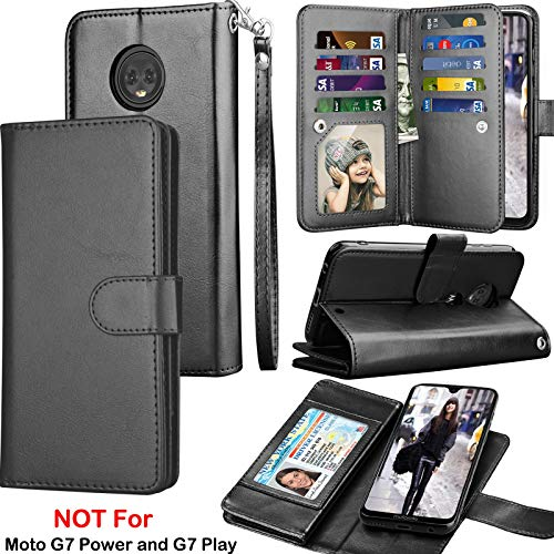 Tekcoo Moto G7 Case, Motorola Moto G7 Plus/T-Mobile Revvlry+ Plus Wallet Case, Luxury ID Cash Credit Card Slots Holder PU Leather Carrying Folio Flip Cover Cases [Detachable Magnetic Case] [Black]