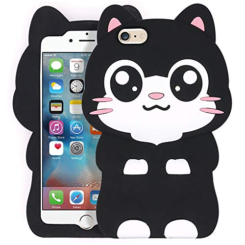 Yonocosta iPhone 6 Case, iPhone 6S Case, Funny Cute 3D Cartoon Big Eye Black Cat Kitty Soft Silicone Rubber Full Protection Case Cover for iPhone 6 / 6S (Pocket Cat)