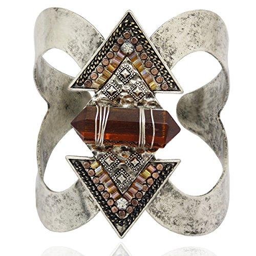 RechicGu Vintage Silver Antique Western Indian Cowgirl Vintage Arrow Stone Native American Aztec Bracelet Bangle ()