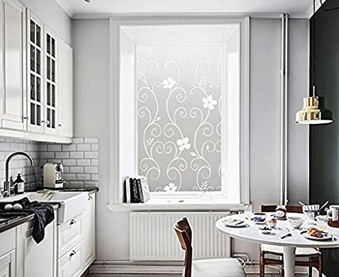 DUOFIRE Window Film White Flower Pattern Privacy Window Film Frosted Glass Film Static Cling Glass Film No Glue Anti-UV Window Sticker For Bathroom Bedroom Living Room 35.4in. x 118in. DP014W