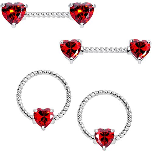- Body Candy 14G 4Pc Twisted 316L Steel Captive Red Heart Straight Barbell BCR Nipple Ring Set 16mm