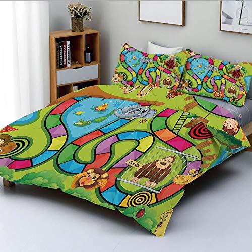 Duplex Print Duvet Cover Set Queen Size,Joyful Zoo Various Animals Circles Target Gorilla Giraffe Kids in Car Start Flag DecorativeDecorative 3 Piece Bedding Set with 2 Pillow Sham,Multicolor,Best Gif