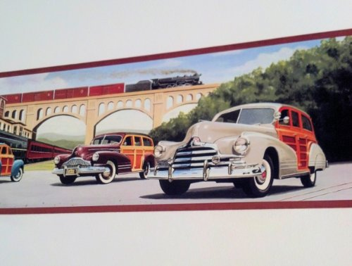 (Woodys At the Train Station Wallpaper Border - Railroad, Nash, Buick, Pontiac)