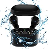 Tankfly Wireless Earbuds, TWS Mini Bluetooth Earbuds True Stereo IPX5 Sweatproof Sports Car Bluetooth Headset For Iphone Samsung Ipad And Android Phone Women Men (Black)