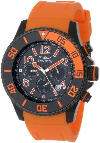 Invicta Men's 13733 Pro Diver Chronograph Black Carbon Fiber Dial Orange Polyurethane Watch by Invicta