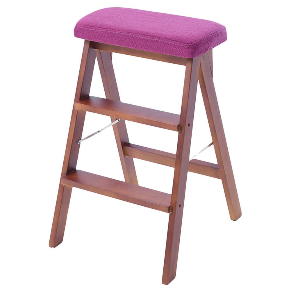 F Nevy- Step Stool Kitchen Steps Wooden Ladder Household Three-Step Folding Ladder Multi-Purpose Dual-use Climbing Stairs Stool (color   G)