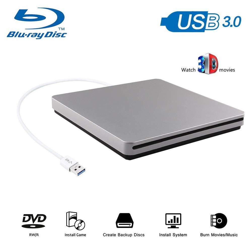 Blu-Ray Player, 3D 4K Player USB 3.0 Ultra Slim CD DVD Drive Portable BD DVD CD RAM Burner Combo High Speed Re-Writer for Sliver Ultrabook Laptop Notebook PC Desktop by Oulin