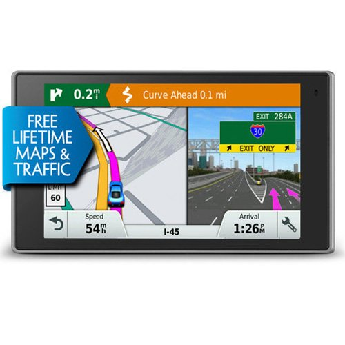 Garmin DriveLuxe 50 NA LMTHD GPS Navigator System with Lifetime Maps and Traffic, Smart Notifications, Voice Activation, Driver Alerts, and a Sleek Metal Design (Certified Refurbished) by Garmin