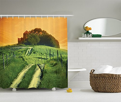 [Tuscan Decor Collection Pienza Tuscany Vineyard Grapes Trees Meadow Hillside Ancient Farmhouse Picture Polyester Fabric Bathroom Shower Curtain Set Orange] (Grape Vine Halloween Costume)