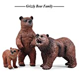 Grizzly Bear Toys Figurines Set, Wild Animal Model Toys for Nature Science Learning, Wildlife Theme Party Supplies Cake Toppers, Family Pack of 3