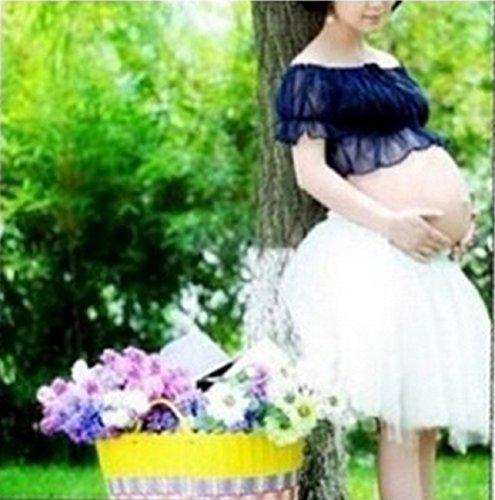 事業答え穿孔するマタニティ フォト ドレス 各色 花かんむり と シール 付き 3点セット 衣装 写真 撮影 (2.紺, マタニティ)