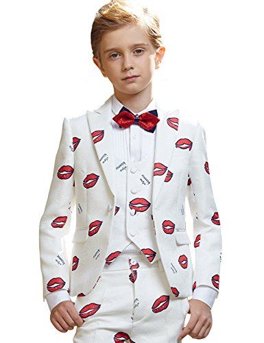 ELPA ELPA Boys Slim Fit 6 Piece Suits Formal Outfit Creative Design Dress Set Green Embroidery Blazer Vest Pants (5) by ELPA ELPA
