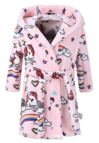 Toddler Girls & Boys Bathrobes,Plush Soft Coral Fleece Robes Hooded Animal Sleepwear Pajamas for Kids Girls (Cute Cartoon Pink, 5T(Fit Height 43