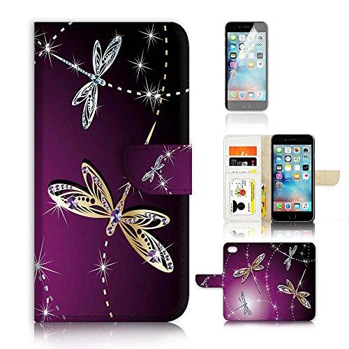 ( For iPhone 8 / iPhone 7 ) Flip Wallet Case Cover and Screen Protector Bundle A20232 Dragonfly Beautiful