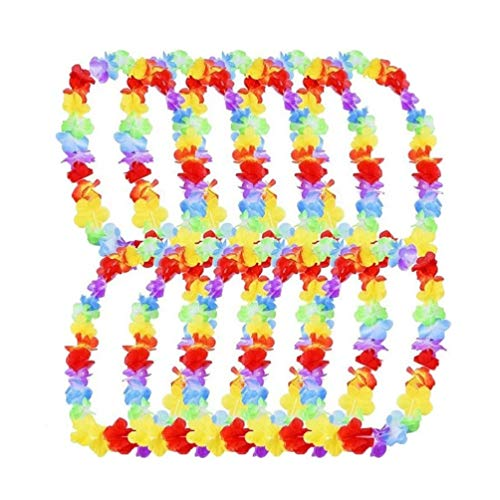 KayMayn 10 Pieces Hawaiian Multi-Coloured Lei Flower Garland,Silk Flowers,for Party Fancy Dress and Tropical Beach Adults or Kids Unisex,with Wristbands(10 pcs Single Color)
