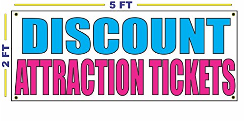 DISCOUNT ATTRACTION TICKETS Banner Sign NEW Larger Size for Shows Concerts Events Movies