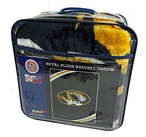 University Tigers Bedding - The Northwest Company University of Missouri Tigers NCAA Force Series Raschel Plush 60x80 Twin Size Throw Blanket