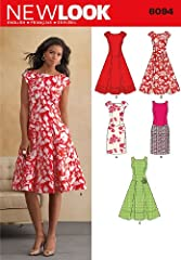 New Look 6094: Misses dress with sleeveless or cap-sleeved bodice and slim or flared and pleated skirt. New Look sewing pattern. Size A (8-10-12-14-16-18)