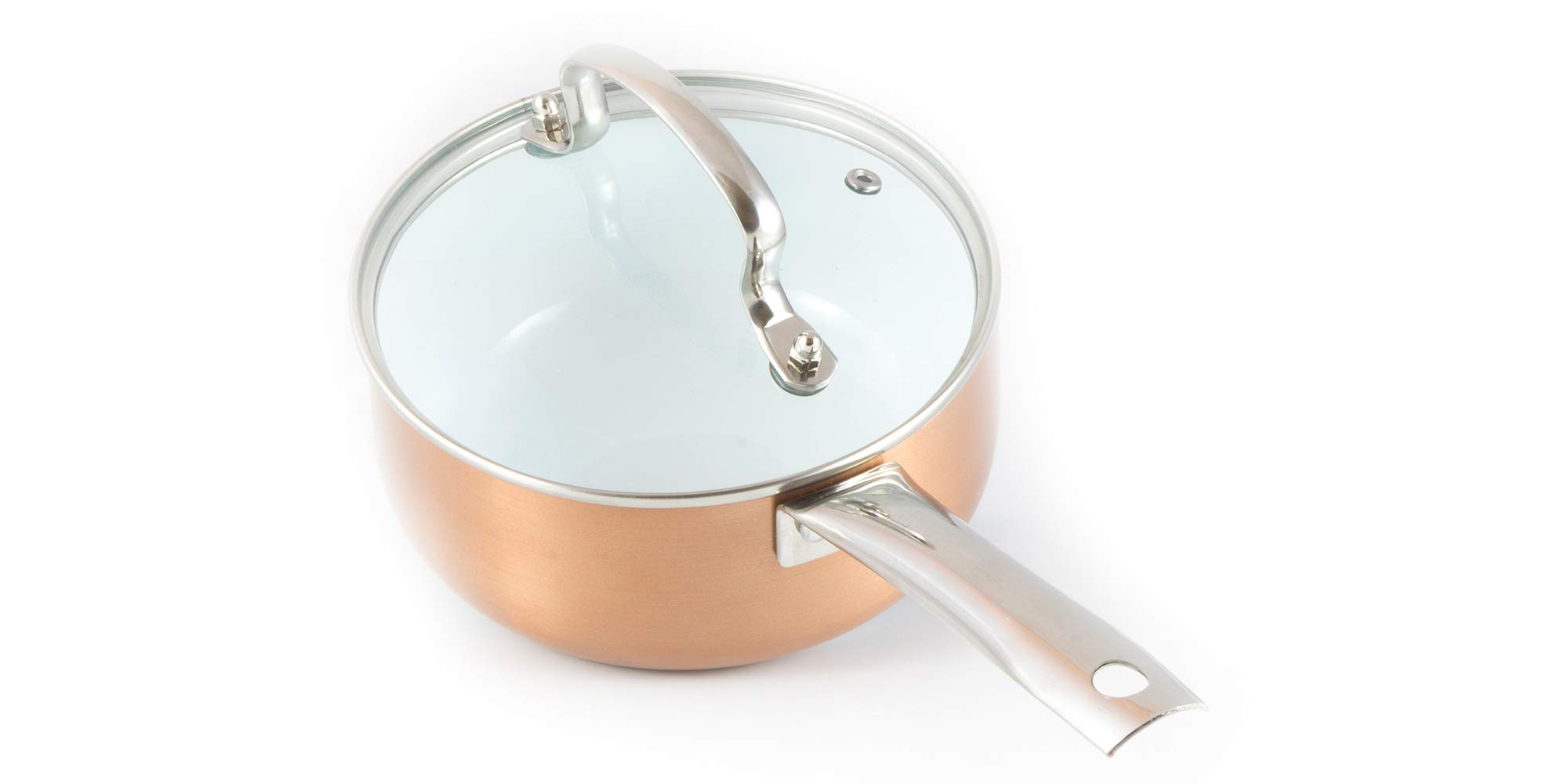 6inch Ceramic Sauce Pan & Glass Lid, 1,5Quart Non Stick Pot, Strong & Resistant Sauce Pot Made of Ceramic & Titanium with Stainless Steel Induction Base. Milk Pot FREE of Toxic Elements.