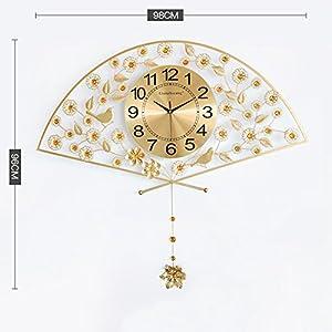Wall clock Reloj Sala de Estar Inicio Reloj de Pared Moderno Minimalista silencioso Reloj de Cuarzo Sector Metal Shell Cristal Espejo 26 Pulgadas 24 * 24 cm Reloj Cara 2