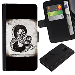 Stuss Case / Funda Carcasa PU de Cuero - Y Muestra Kraken monstruo de mar Negro - Samsung Galaxy S5 Mini, SM-G800