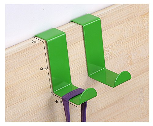 2pcs/set Stainless Steel Cabinet Door Drawer Hooks Clothes Hanger Towel Holder Home Organizer Kitchen Accessories (Green)