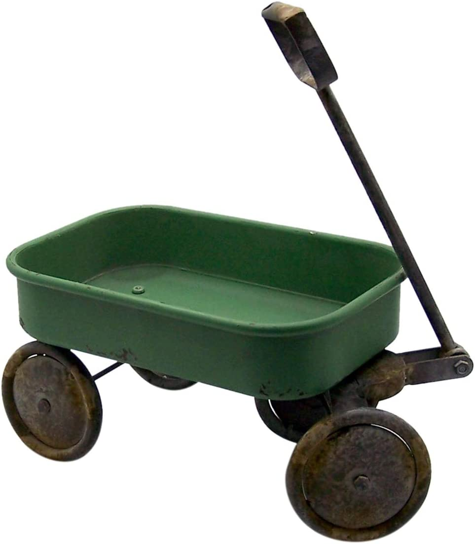Rustic Distressed Galvanized Metal Green Painted Wagon Planter Garden Accessory, 16 Inch