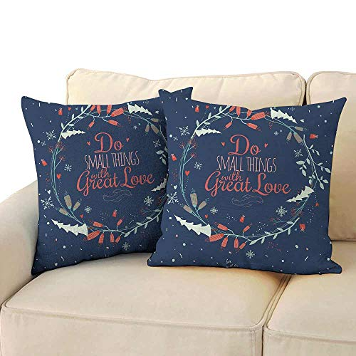 Marilec Polyester Pillowcase Quote Romantic Floral Wreath with Laurel Leaves Loving Wishes Calligraphy Vintage Soft and Durable W 16
